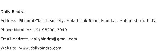 Dolly Bindra Address Contact Number