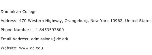 Dominican College Address Contact Number
