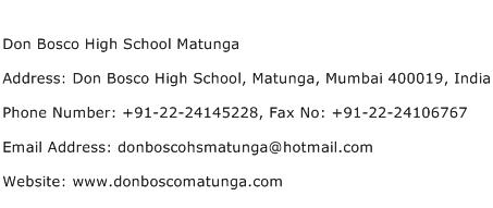 Don Bosco High School Matunga Address Contact Number