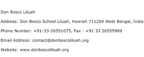 Don Bosco Liluah Address Contact Number