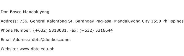 Don Bosco Mandaluyong Address Contact Number