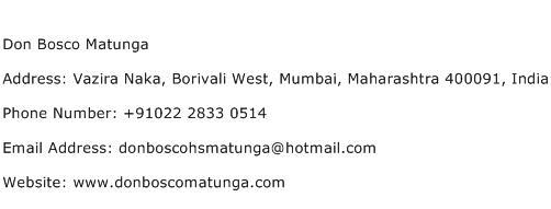 Don Bosco Matunga Address Contact Number