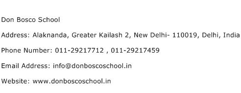 Don Bosco School Address Contact Number
