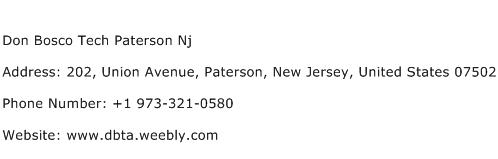 Don Bosco Tech Paterson Nj Address Contact Number
