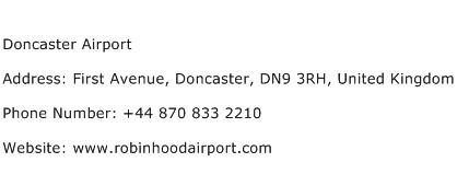 Doncaster Airport Address Contact Number