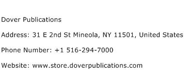 Dover Publications Address Contact Number