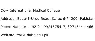 Dow International Medical College Address Contact Number
