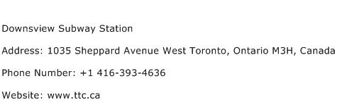 Downsview Subway Station Address Contact Number