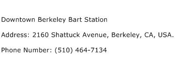 Downtown Berkeley Bart Station Address Contact Number