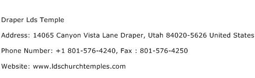 Draper Lds Temple Address Contact Number
