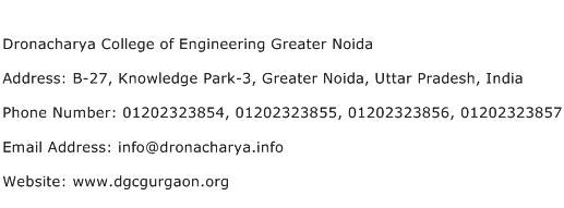 Dronacharya College of Engineering Greater Noida Address Contact Number