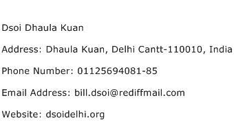 Dsoi Dhaula Kuan Address Contact Number