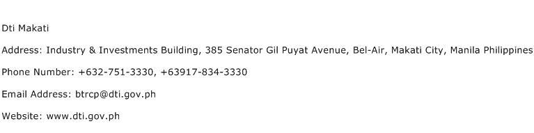 Dti Makati Address Contact Number
