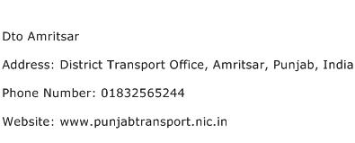 Dto Amritsar Address Contact Number