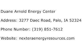 Duane Arnold Energy Center Address Contact Number
