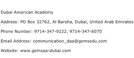 Dubai American Academy Address Contact Number