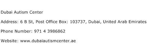 Dubai Autism Center Address Contact Number