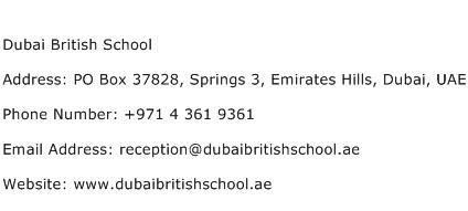 Dubai British School Address Contact Number