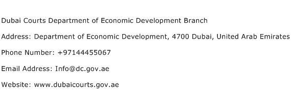 Dubai Courts Department of Economic Development Branch Address Contact Number