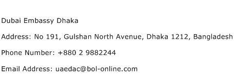 Dubai Embassy Dhaka Address Contact Number