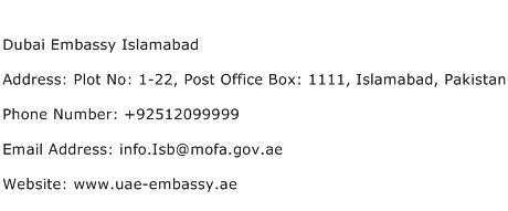 Dubai Embassy Islamabad Address Contact Number