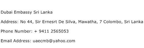 Dubai Embassy Sri Lanka Address Contact Number