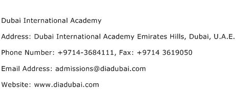 Dubai International Academy Address Contact Number
