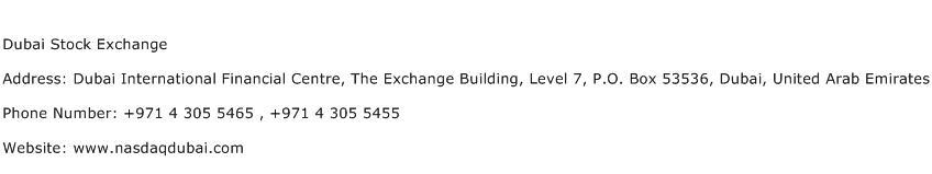 Dubai Stock Exchange Address Contact Number