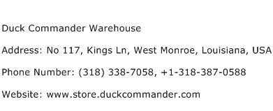 Duck Commander Warehouse Address Contact Number