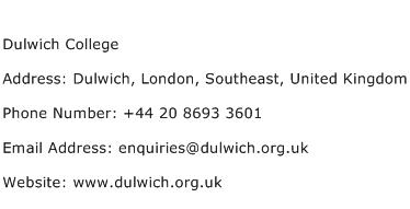 Dulwich College Address Contact Number
