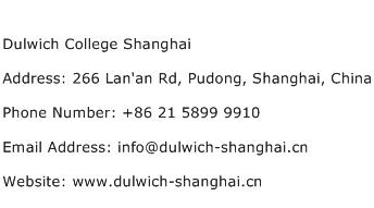 Dulwich College Shanghai Address Contact Number