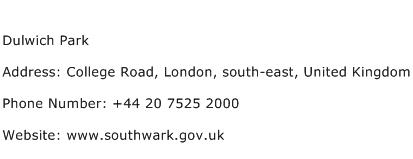 Dulwich Park Address Contact Number