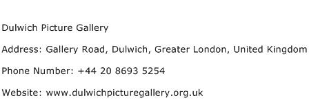 Dulwich Picture Gallery Address Contact Number