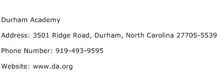 Durham Academy Address Contact Number
