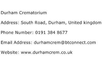 Durham Crematorium Address Contact Number
