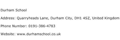 Durham School Address Contact Number