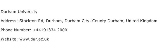Durham University Address Contact Number
