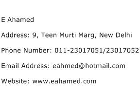 E Ahamed Address Contact Number
