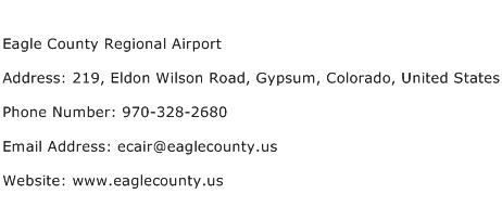 Eagle County Regional Airport Address Contact Number
