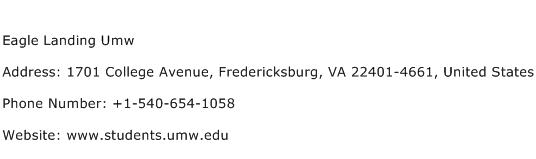 Eagle Landing Umw Address Contact Number