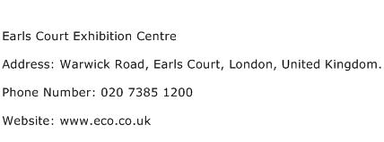 Earls Court Exhibition Centre Address Contact Number