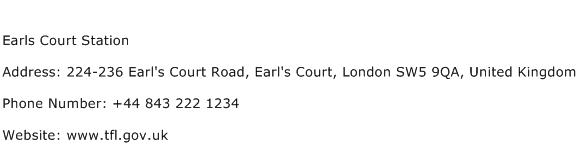 Earls Court Station Address Contact Number