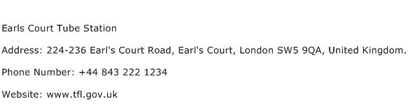 Earls Court Tube Station Address Contact Number