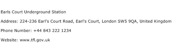 Earls Court Underground Station Address Contact Number