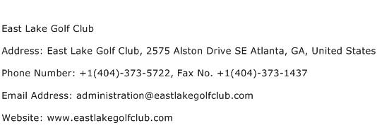 East Lake Golf Club Address Contact Number