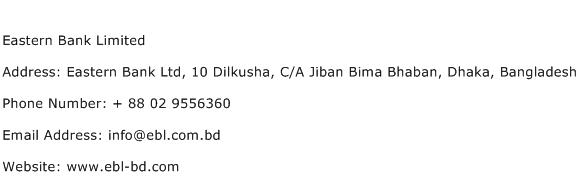 Eastern Bank Limited Address Contact Number