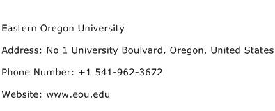 Eastern Oregon University Address Contact Number