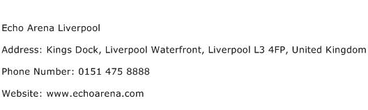 Echo Arena Liverpool Address Contact Number