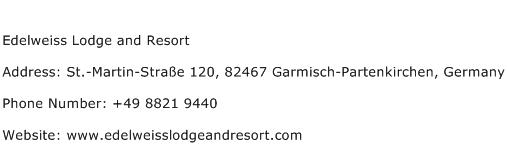 Edelweiss Lodge and Resort Address Contact Number