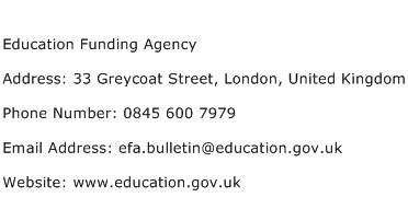 Education Funding Agency Address Contact Number